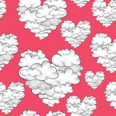 Clouds in the shape of hearts. Seamless pattern. Vector illustration on red background