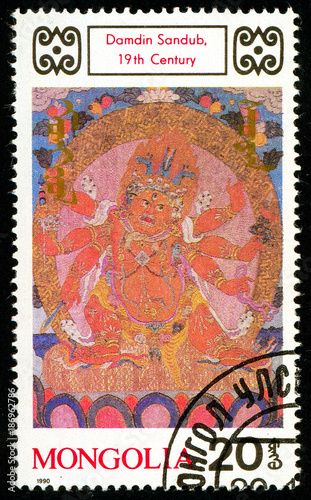 Fotobehang Boeddha Ukraine - circa 2018: A postage stamp printed in Mongolia shows drawing Damdin Sandub. Series: Buddhist Deities. 18th-20th Cent. Paintings. Circa 1990.
