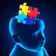 Child Head with Jigsaw Puzzle Brain