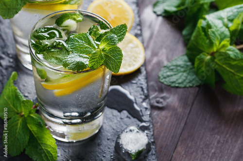 Foto Murales View from above on two glasses with reshness cold lemonade.