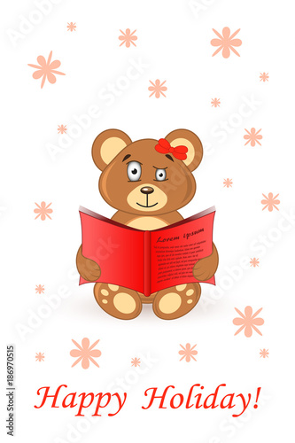 cute bear teddy. card greeting happy holiday