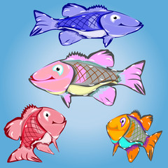 Collection of cartoon fish, character on a light blue background,