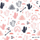 Vector seamless pattern with succulent cactus, stars, arrow, wigwam and moon. Cute print for textile, paper. - 186975561