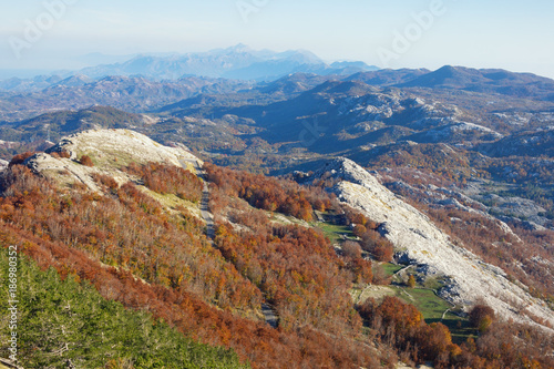 Fotobehang Blauwe hemel Picturesque mountain landscape on a sunny autumn day. Montenegro, view of Lovсen national park