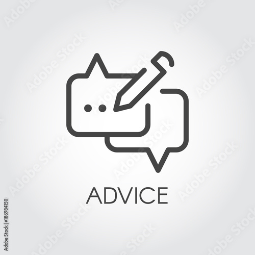 Advice thin line icon. Graphic contour symbol of message bubble with pencil. Interface pictogram for mobile apps, websites, games, social media, instant messengers. Post UI linear label. Vector