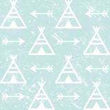 Teepee and arrows seamless vector pattern, Aztec style Indian repetitive design, Native American wallpaper      - 186986378