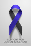 Black-blue ribbon symbolic of support for law enforcement. Vector EPS 10 - 186989113