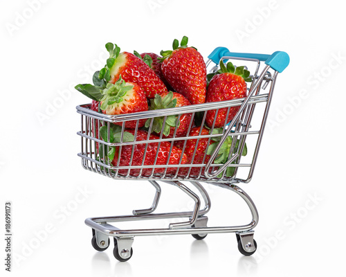 Sweet healthy strawberry in the shopping cart.