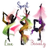 Collection of beautiful female silhouettes, fitness shapes in abstract style - 186992519