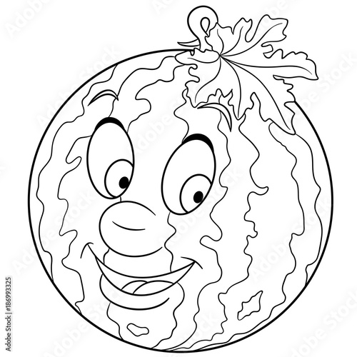 Coloring Book Page Cartoon Watermelon Character Happy Fruit Symbol Food Icon