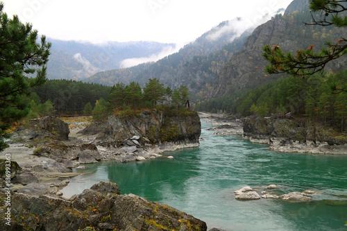 Turquoise river Katun in the autumn on Altai