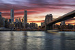 sunset of fire on the city of New York