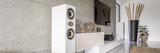 White loudspeaker in modern living room