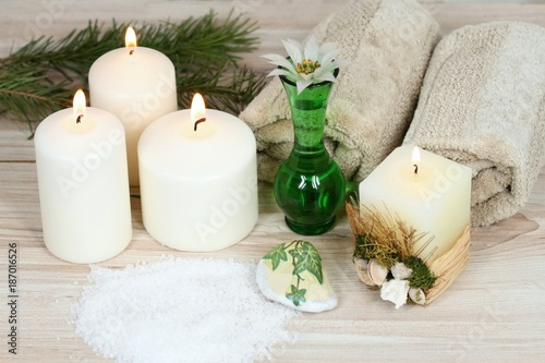 Winter spa, aromatherapy treatmen, candles, bath crystals, towel