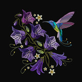 Embroidery violet flowers bells and humming bird. Beautiful violet cornflowers and humming bird, classical art embroidery. Fashionable template for design of clothes - 187021311