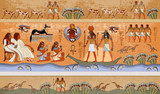 Ancient Egypt scene, mythology. Egyptian gods and pharaohs. Murals ancient Egypt. Hieroglyphic carvings on the exterior walls of an ancient temple. Egypt background - 187021738