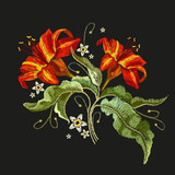 Embroidery vintage flowers lily. Classical embroidery lilies, template fashionable clothes, t-shirt design, print vector - 187021739