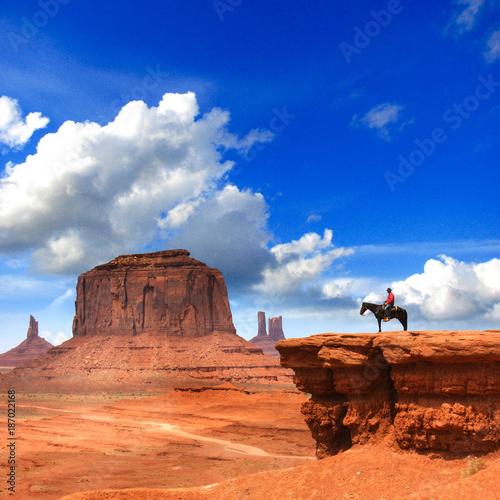 Poster Oranje eclat Monument Valley with Horseback rider / Utah - USA