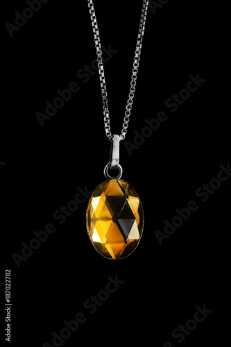 Yellow crystal medallion
