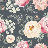 Pink peonies with gray leaves on the black background. Watercolor vector seamless pattern. Romantic garden flowers illustration.