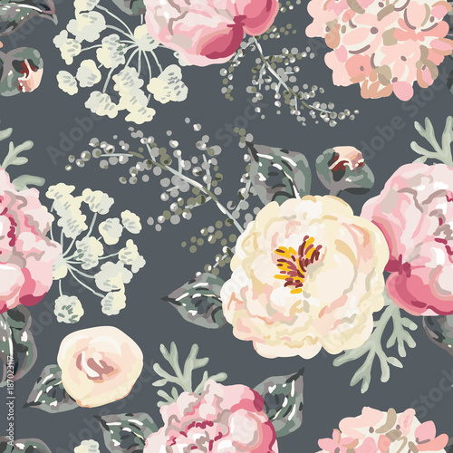 Pink peonies with gray leaves on the black background. Watercolor vector seamless pattern. Romantic garden flowers illustration. - 187023117