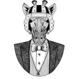 Camelopard, giraffe Elegant rugby player. Old school vintage rugby helmet. American football. Vintage style illustration for tattoo, emblem, badge, logo, patch, t-shirt - 187026709