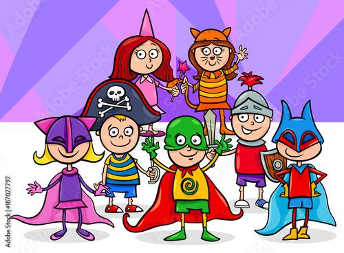 kids group at mask ball cartoon illustration - 187027797