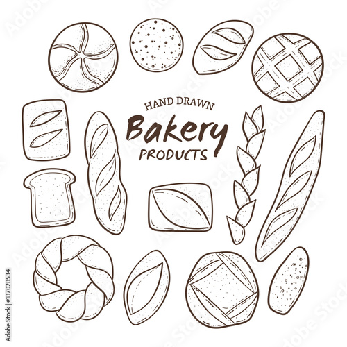 Hand drawn bakery fresh bread collection. Outlined design elements isolated on white. Vector illustration.