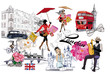 Set of London illustrations with fashion girls, cafes and musicians. Vector illustration.