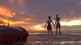 woman and robot on summer beach