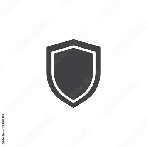 Shield protection icon vector, filled flat sign, solid pictogram isolated on white. Security shield symbol, logo illustration.