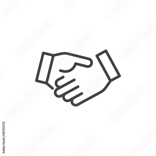 Sticker Business handshake line icon, outline vector sign, linear style pictogram isolated on white. Agreement, Shaking hands symbol, logo illustration. Editable stroke