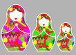 Matryoshka set stickers icon Russian nesting doll with ornament, vector illustration isolated or  grey background - 187034717