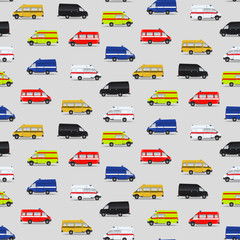 Seamless pattern with minibuses