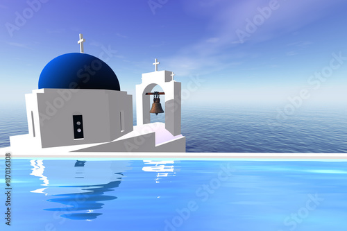 Panoramic view over the sea, the absolute combination of white and blue.