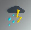 lightning stroke with rain