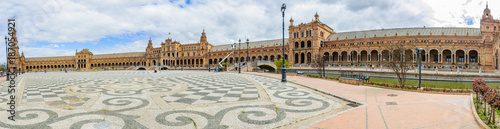 Panoramic view of Plaza España in Seville, Spain - 187054921