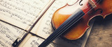 old violin and notes, banner size