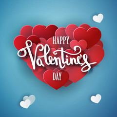 Happy Valentines day vector handwritten text greeting card card design with 3d realistic paper cut heart shape balloon and hearts decorations in red background. Vector illustration 10 eps