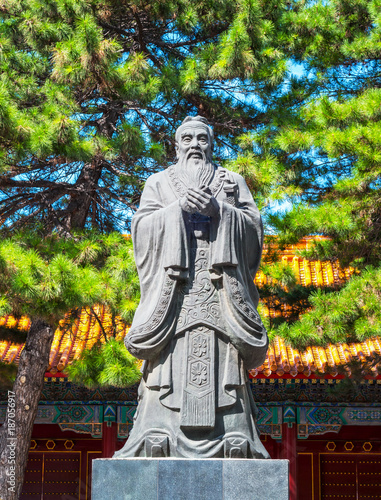 Statue of Confucius, located in Harbin, Heilongjiang, China.