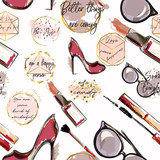 Trendy fashion vector wallpaper pattern with cosmetics,  shoes, lipstick, mascara and lipstick - 187060344