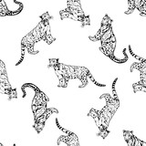 Fototapeta Seamless pattern of sketch style clouded leopards. Vector illustration isolated on white background.