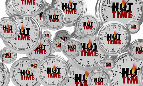 Hot Time Clocks Popular Event Fun Party 3d Illustration
