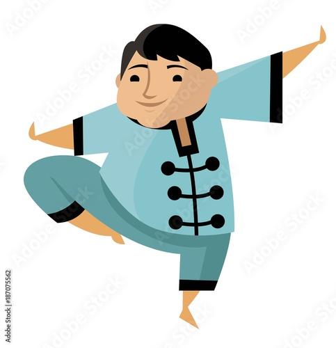 tai chi chuan chubby cute man - 187075562