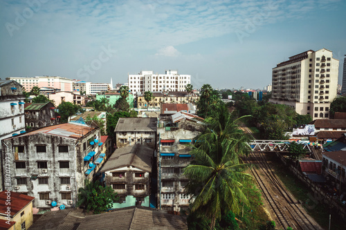 Foto Murales Houses of myanmar during the day.