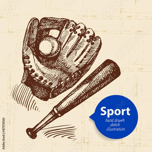 Staande foto Bol Hand drawn sport object. Sketch baseball vector illustration