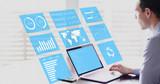 Key Performance Indicators (KPI) on business dashboard, businessman analyzing metrics - 187079727