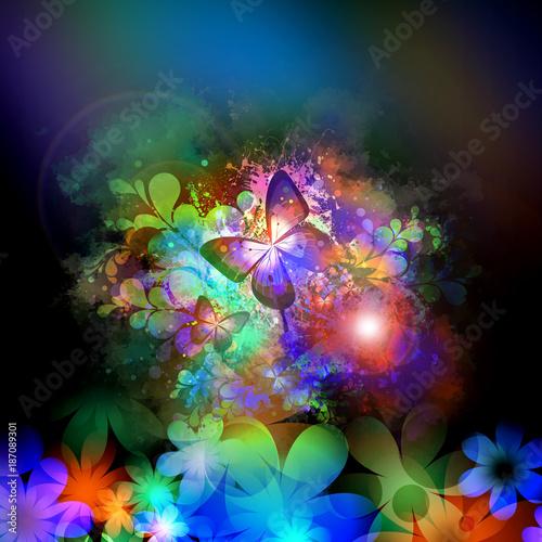 Fotobehang Reznik красочные бабочки в абстрактный фон брызг
