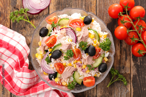 rice salad with tuna fish and tomato