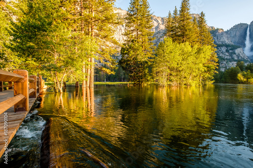 Merced River and Yosemite Falls landscape - 187090104
